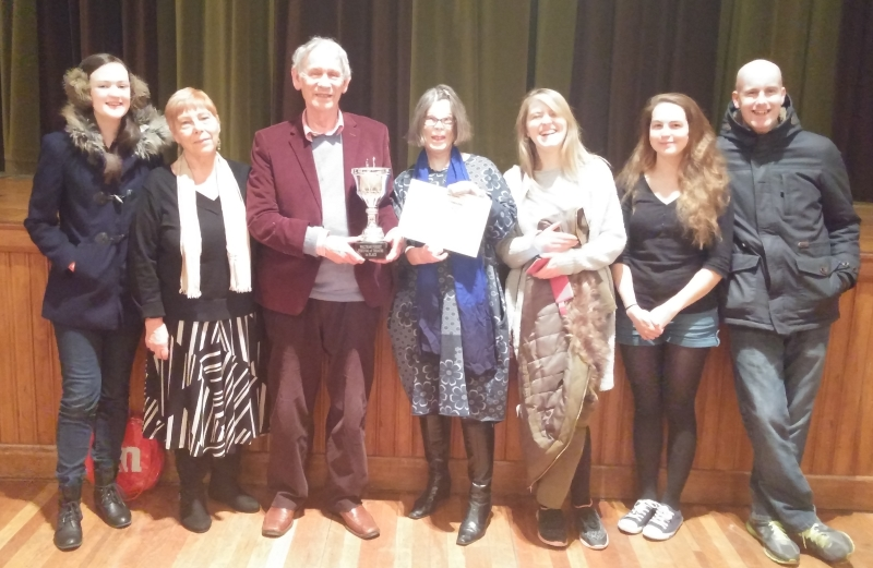 members of woodhouse players pose with the award for best team