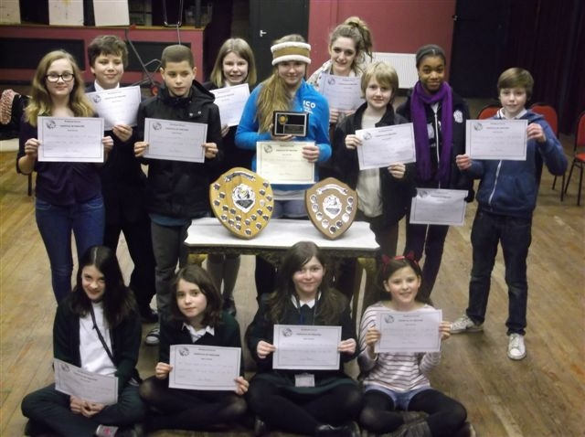 waltham forest youth theatre showing their awards for Them and Us